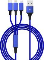 USB 2.0, Apple iPad/iPhone/iPod, USB 3.1 Csatlakozókábel 1.20 m Kék