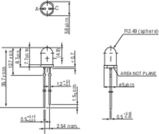 LED kivezetéssel Sárga Kerek 5 mm 750 mcd 9 ° 30 mA 2 V Vishay TLHE 5100
