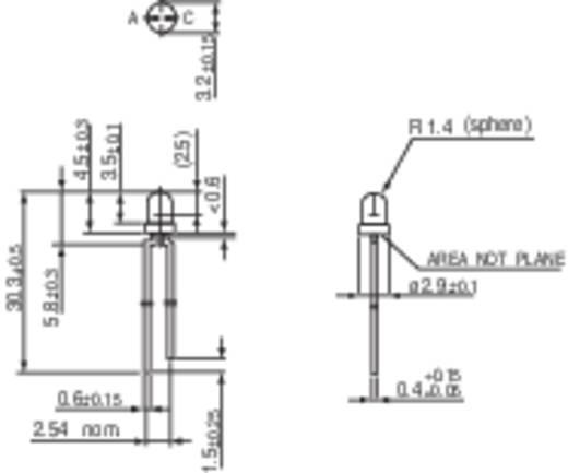 LED kivezetéssel Piros Kerek 3 mm 32 mcd