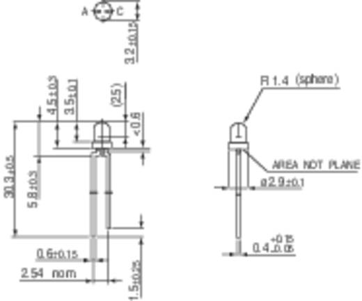 LED kivezetéssel Sárga Kerek 3 mm 10 mcd