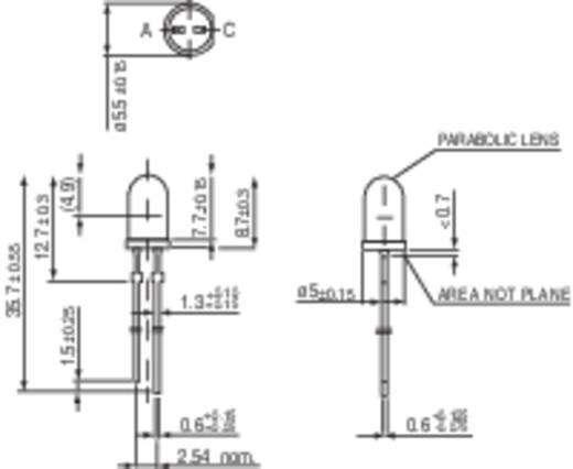 LED kivezetéssel Piros Kerek 5 mm 5500 mcd 4 ° 20 mA 1.9 V Vishay TLHK 5800