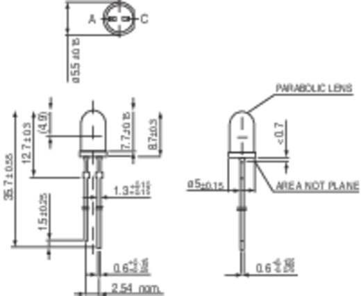 LED kivezetéssel Sárga Kerek 5 mm 3500 mcd 4 ° 20 mA 2 V Vishay TLHE 5800
