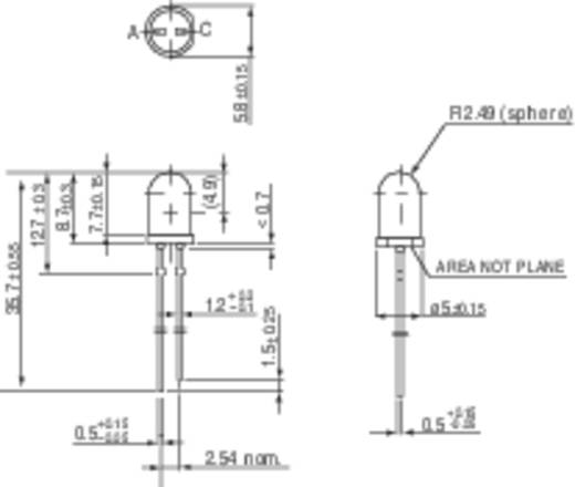 LED kivezetéssel Piros Kerek 5 mm 15 mcd 30 ° 20 mA 2 V Vishay TLUR 5401