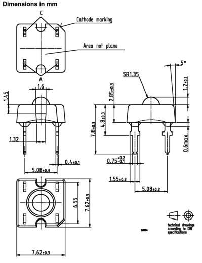 LED kivezetéssel Piros Derékszögű 7.6 x 7.6 mm 30 ° 70 mA 2.2 V Vishay TLWR 7600