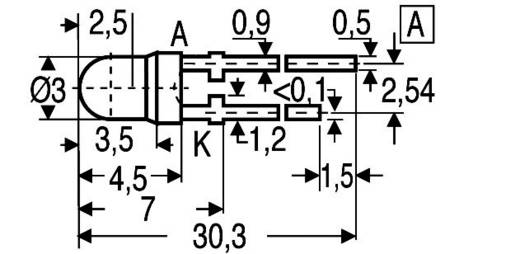 LED kivezetéssel Sárga Kerek 3 mm 15 mcd