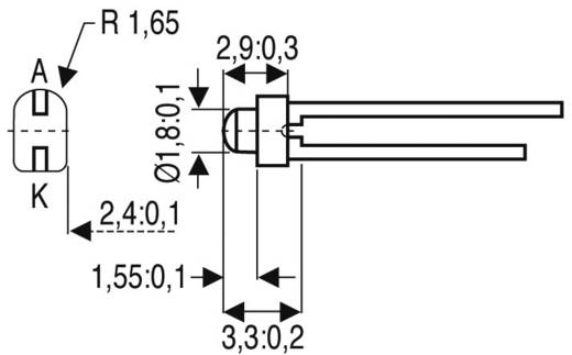 LED kivezetéssel Zöld Íves 1.9 mm 2 mcd 20 ° 20 mA 2.4 V Vishay TLUG2401