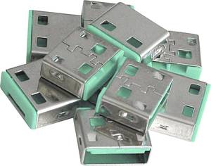 USB port blokkoló dugó, vakdugó, 10db-os készlet, zöld,  LINDY 40461 LINDY