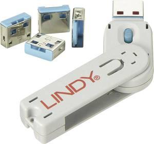 USB port blokkoló dugó, vakdugó, 4 db-os készlet, kék, kiszedő szerszámmal, Lindy 40452 LINDY