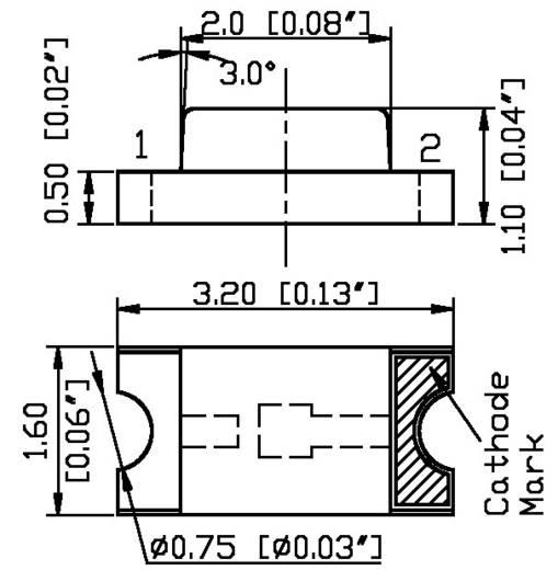 SMD LED, 300MCD SUNNY fehér 1206