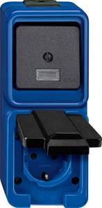 Merten Komplett Kontrollkapcsoló, Védőérintkezős dugalj ráhajtható fedéllel, Kapcsoló/dugaszoló aljzat kombináció Kék Merten
