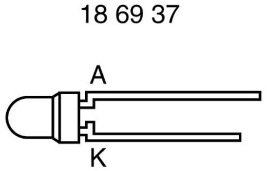 LED kivezetéssel Sárga Kerek 3 mm 1.2 mcd<br