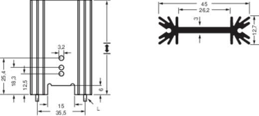 Strang hűtőtest forrasztótüskékkel, Fischer Elektronik SK 409 38.1 STS 45 x 38,1 x 12,7 mm Rth K/W 7 K/W