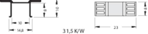 Hűtőborda 31,5 K/W 8 x 23 x 10 mm D-PAK, TO-252, TO-268, SOT-669, SO-14, SO-16, SOT-223, Fischer Elektronik FK 244 08 D