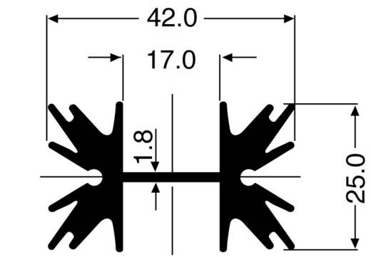 Hűtőborda 4 K/W 50 x 42 x 25 mm TO-220 SOT-32, Fischer Elektronik SK 129 50,8 STS