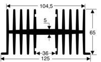Hűtőborda 1,1 K/W 75 x 125 x 65 mm, Fischer Elektronik SK 34 75 SA (10019760) Fischer Elektronik