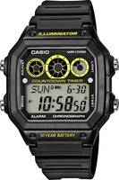 Casio Kvarc Karóra AE-1300WH-1AVEF (H x Sz x Ma) 45 x 42.1 x 12.5 mm Fekete Ház anyaga=Műgyanta Anyag (karpánt)=Műgyanta Casio