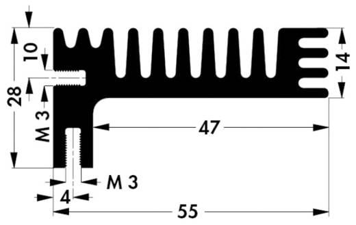 Hűtőborda 3,8 K/W 84 x 55 x 28 mm TO-220 TOP-3, Fischer Elektronik SK 96 84 SA
