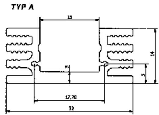 Hűtőborda 50x32x14mm