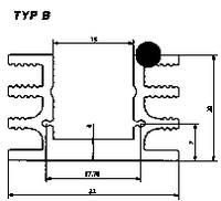 Hűtőborda 6,5 K/W 37,5 x 32 x 20 mm TO-220 TO-126, Fischer Elektronik SK 76 37,5 SA (10022570) Fischer Elektronik