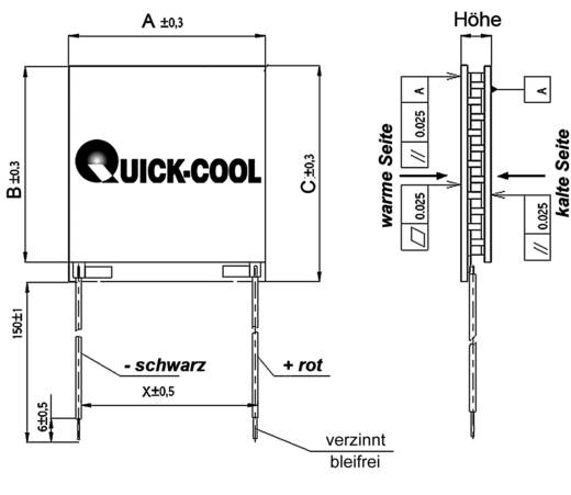 QuickCool HighTech Peltier elem, 54,4x54,4x3,4mm, 54,8V, QC-450-0.8-3.0M