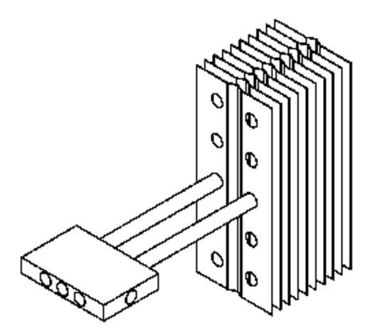 Hőcsatlakozó elem hővezető csövekhez, QG-IF-A6-1X3