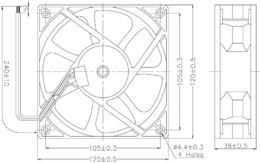 Vízálló axiális ventilátor IP58 24 V/DC 193 m³/h 120 x 120 x 38 mm Conrad Components RD12038B24H