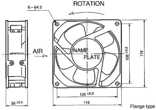 Ventilátor, 4715MS-23T-B5A-D00 119X119MM 230V