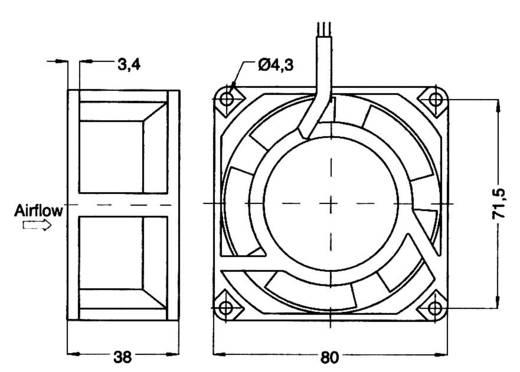 Axiális ventilátor 115 V/AC 54 m³/h 80 x 80 x 38 mm NMB Minebea 3115PS-12W-B30