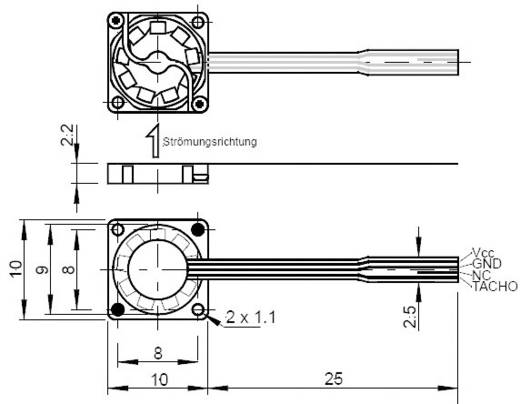 SEPA mikroventilátor, SEPA MF_10A03A-ST (Sz x Ma x Mé) 10 x 10 x 2 mm Betriebsspannung 3.3 V/DC