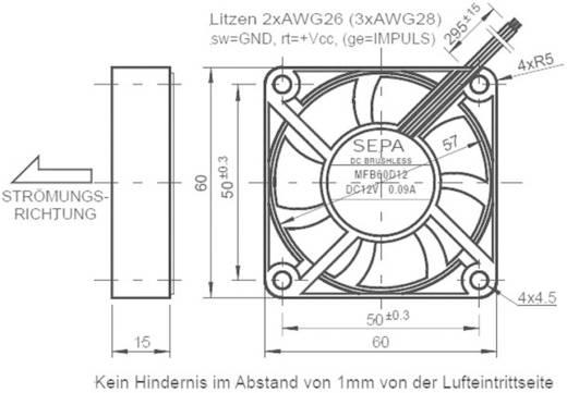 Axiális ventilátor 60x60x15 mm 12VDC, golyóscsapágyas, SEPA MFB60D12