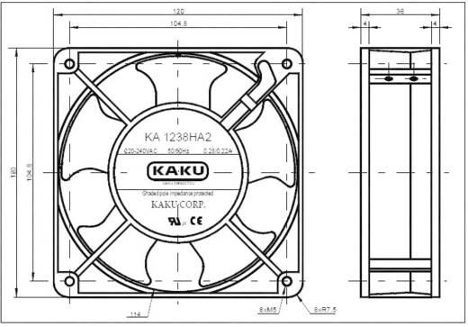 Nagyteljesítményű axiális ventilátor 230 V/AC 178 m³/h 120 x 120 x 38 mm SEPA KA1238XA2BMT