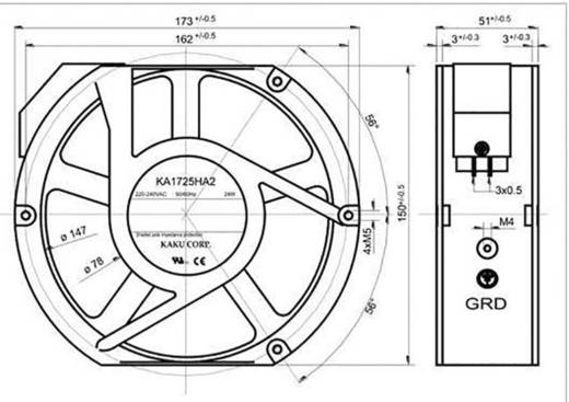 Axiális ventilátor 230 V/AC 340 m³/h 173 x 150 x 51 mm SEPA KA1725HA2BMT/Mg