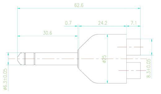 Átalakító, 6,3 mm-es jack dugó - 2 db RCA alj, SpeaKa