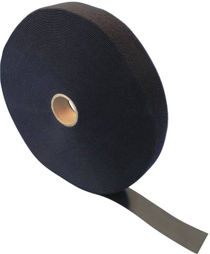 Tépőzár szalag bolyhos és horgos fél, 25 m x 100 mm, fekete, Fastech