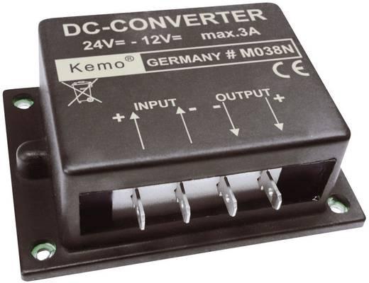 Feszültségváltó modul 24 V/DC-ről 12 V/DC-re, bemenet: 24 - 26 V, kimenet: 12 V, 3 A, KEMO M038N