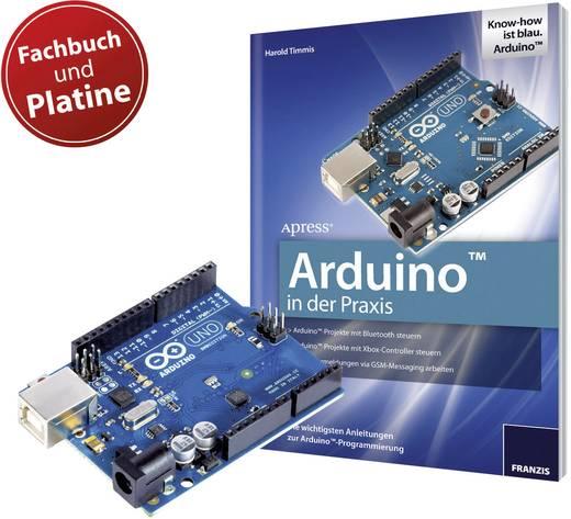 Franzis Verlag Könyv: Arduino in der Praxis + Original Arduino Uno Platine