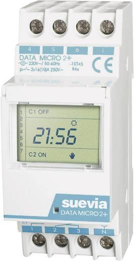 Suevia DIN sínes digitális heti időkapcsoló óra, 2 áramkör, 250V/16A, 32 program, DATA Micro 2+