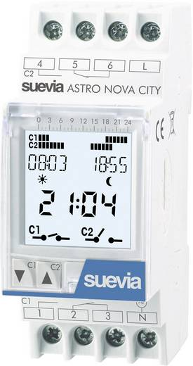 Suevia DIN sínes digitális heti horoszkópos időkapcsoló óra, 2 áramkör, 250V/16A, 22 program, ASTRO LOG