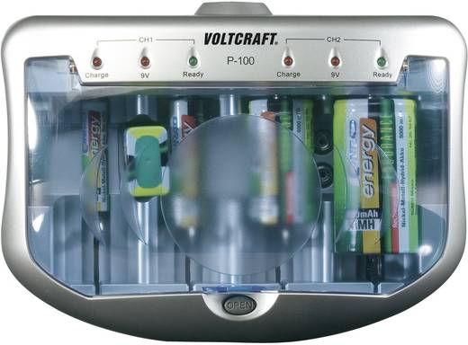 Hengeres akkutöltő, ceruza (AA), mikroceruza (AAA), Baby (C), Góliát (D), 9 V-os NiMH, NiCd akkukhoz Voltcraft P-100