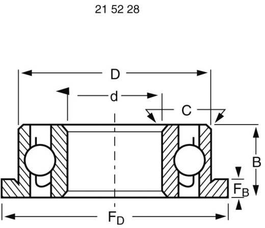 Modelcraft radiális golyóscsapágy, mélyhornyú peremmel, Ø19 x Ø10 x 7 mm