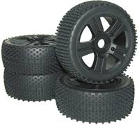 RC modellautó Buggy kerék 1:8 méretű, 5 küllős, fekete színű 4 db-os készlet, Reely Buggy Competition Reely