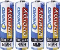 AA ceruza akku , NiMH, 1,2V 1100 mAh, 4 db,  LR06, AA, LR6, AAB4E, AM3, 815, E91, LR6N, Conrad Energy Conrad energy