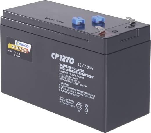 Karbantartásmentes ólomakku 12 V 7 Ah 4,8 mm-es laposérintkezős dugó, 151 x 95 x 65 mm CE12V/7Ah, Conrad Energy