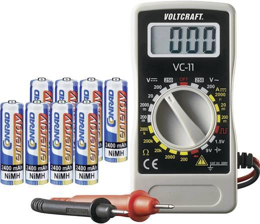 NiMH ceruzaakku készlet, 8 db 2400 mAh-s, Conrad energy + Multiméter, Voltcraft VC-11