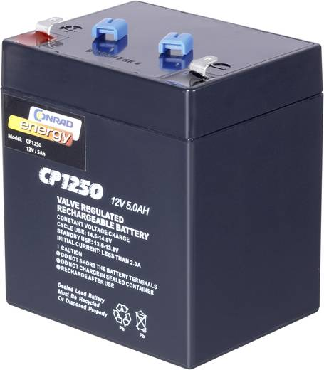 Karbantartásmentes ólomakk Conrad energy 5 Ah, 4,8 mm-es laposérintkezős dugó, ólom-vlié, 12 V, 12 V, 5 Aóra