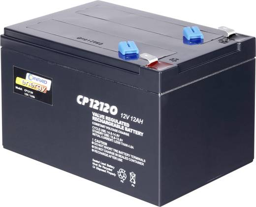 Karbantartásmentes ólomakku Conrad energy 12 Ah, 6,35 mm laposérintkezős dugó, ólom-vlié, 12 V, 12 V, 12 Ah