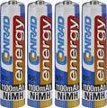 Mikroceruza akku AAA NiMH, 1,2V 1100 mAh, 4 db, Conrad Energy HR3, HR03, UO100557, DC2400, DC2400B4N, LR03 Conrad energy