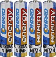Mikroceruza akku AAA NiMH, 1,2V 1100 mAh, 4 db, Conrad Energy HR3, HR03, UO100557, DC2400, DC2400B4N, LR03 (251111) Conrad energy