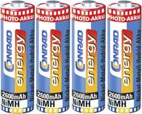 Ceruza akku AA, NiMH, 1,2V 2600 mAh, 4 db, Conrad Energy Photo LR06, AA, LR6, AAB4E, AM3, 815, E91, LR6N (Akku AA 2600) Conrad energy