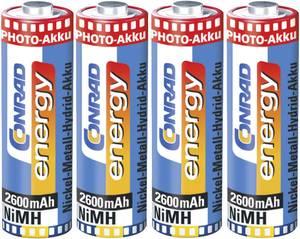 Ceruza akku AA, NiMH, 1,2V 2600 mAh, 4 db,  LR06, AA, LR6, AAB4E, AM3, 815, E91, LR6N, Conrad Energy Photo Conrad energy